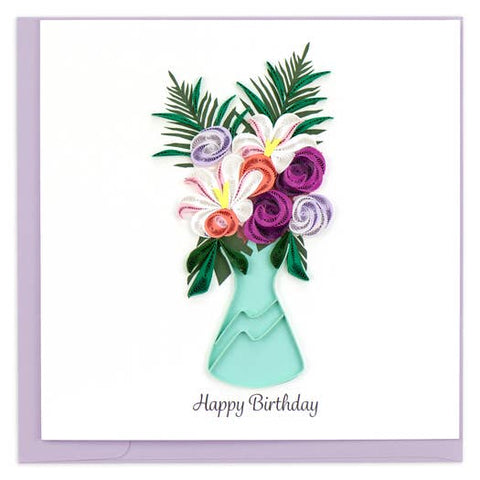 Birthday Flower Vase Quilling Card