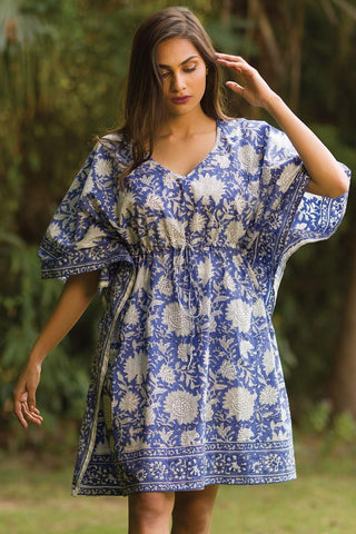 Cotton Caftan | Indigo & White Floral