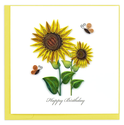Birthday Sunflowers Quilling Card