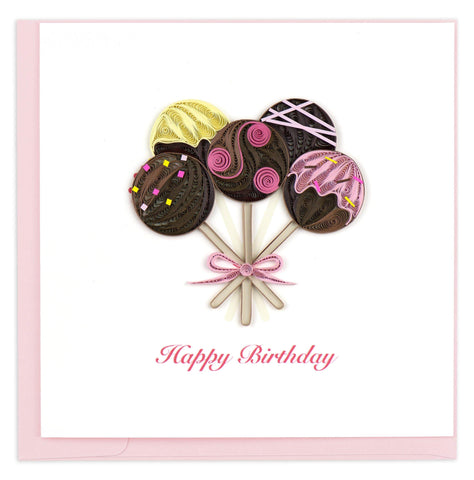 Birthday Cake Pops Quilling Card