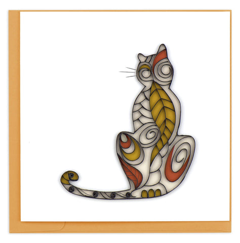 Cat Silhouette Quilling Card