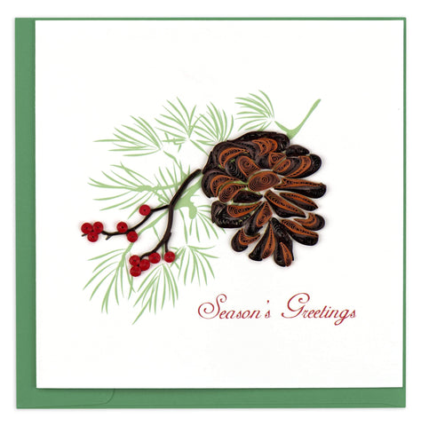 Holiday Pine Cone Quilling Card