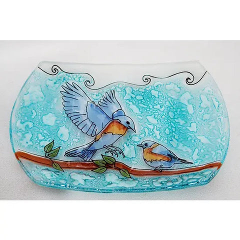 Recycled Glass Soap Dish | Blue Birds