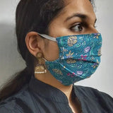 Block Print Pleated Cotton Mask