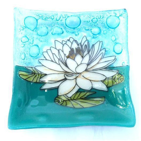 Recycled Glass Square Dish | White Lotus Flower