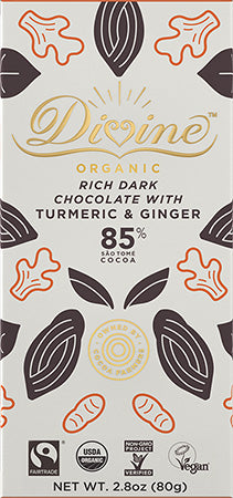 Dark Chocolate Bar | 85% Organic w/Turmeric and Ginger