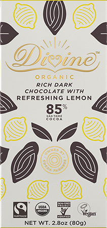 Dark Chocolate Bar | 85% Organic w/Refreshing Lemon