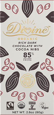 Dark Chocolate Bar | 85% Organic w/Cocoa Nibs