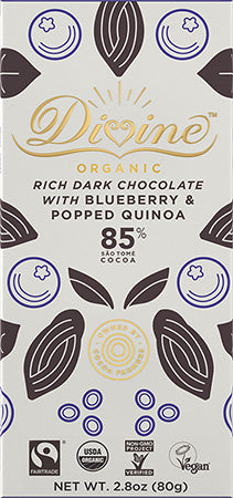 Dark Chocolate Bar | 85% Organic w/Blueberry & Popped Quinoa