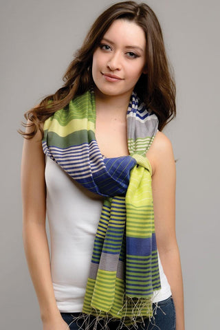Samita Stripes Scarf | Lime Green/Navy