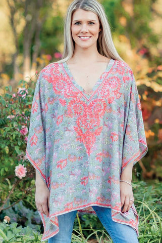 Demira Embroidered Top | Peach & Silver