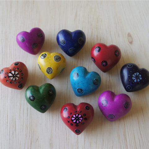 Single Tiny Etched Colorful Soapstone Heart