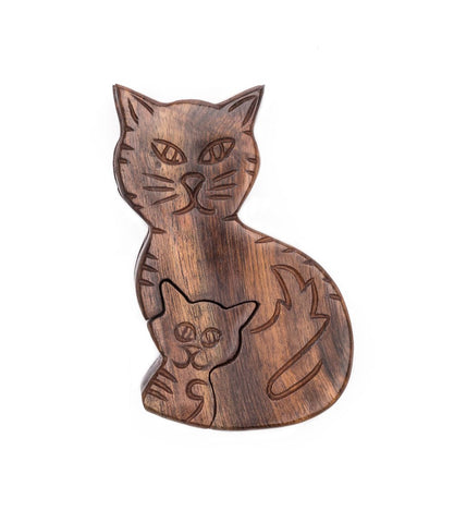 Wooden Puzzle Box | Mama Cat