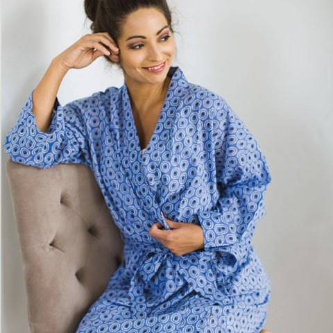 Printed Cotton Robe | Tangier Indigo