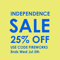 25% off 4th  of july sale use code fireworks expires july 7th