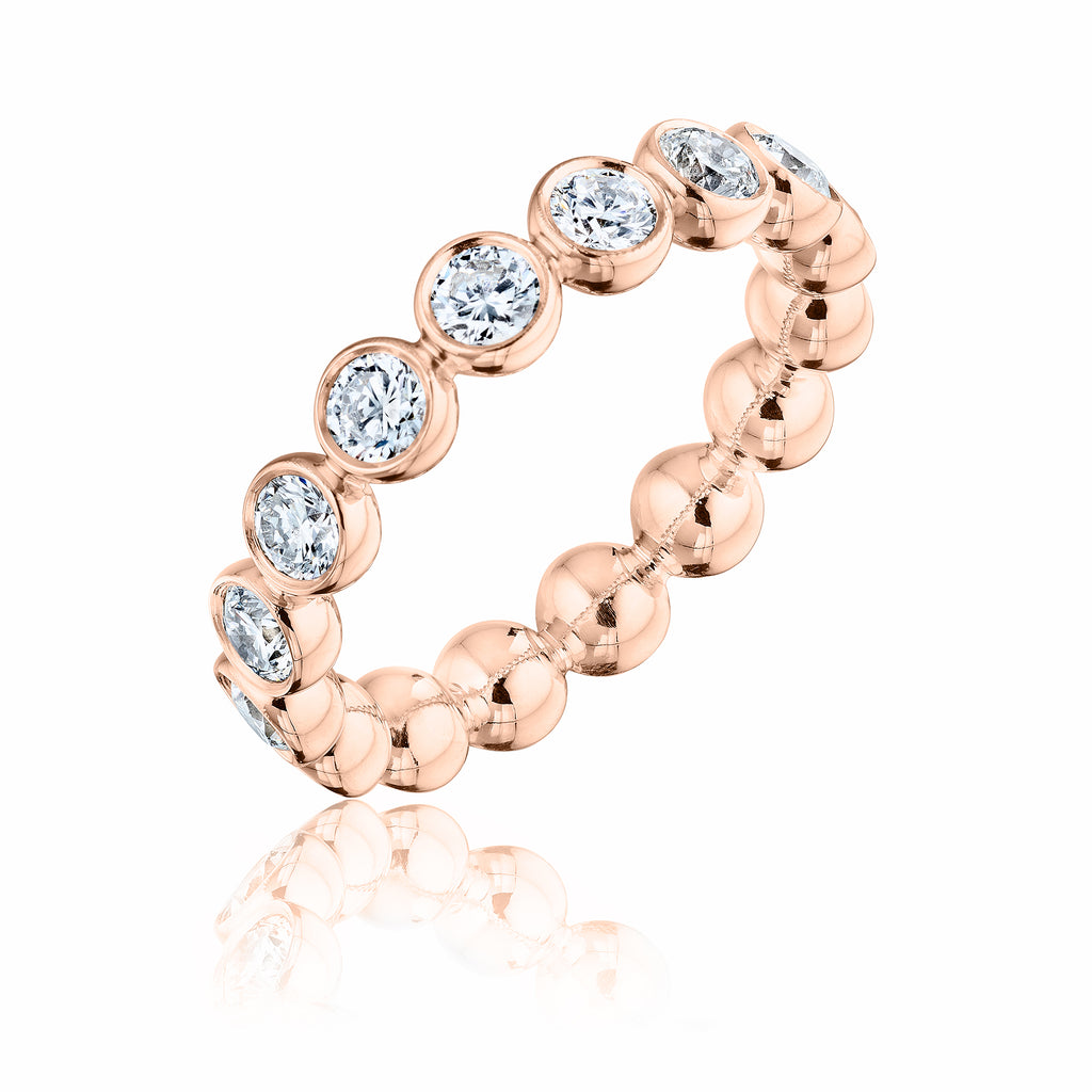 Large Diamond Bubble Band 18kt rose recycled gold with diamonds