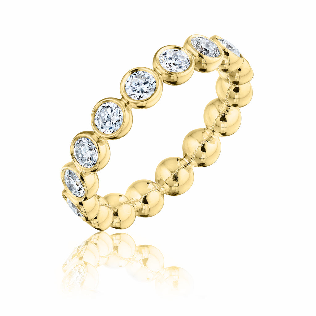 Large Diamond Bubble Band 18kt yellow gold with diamonds