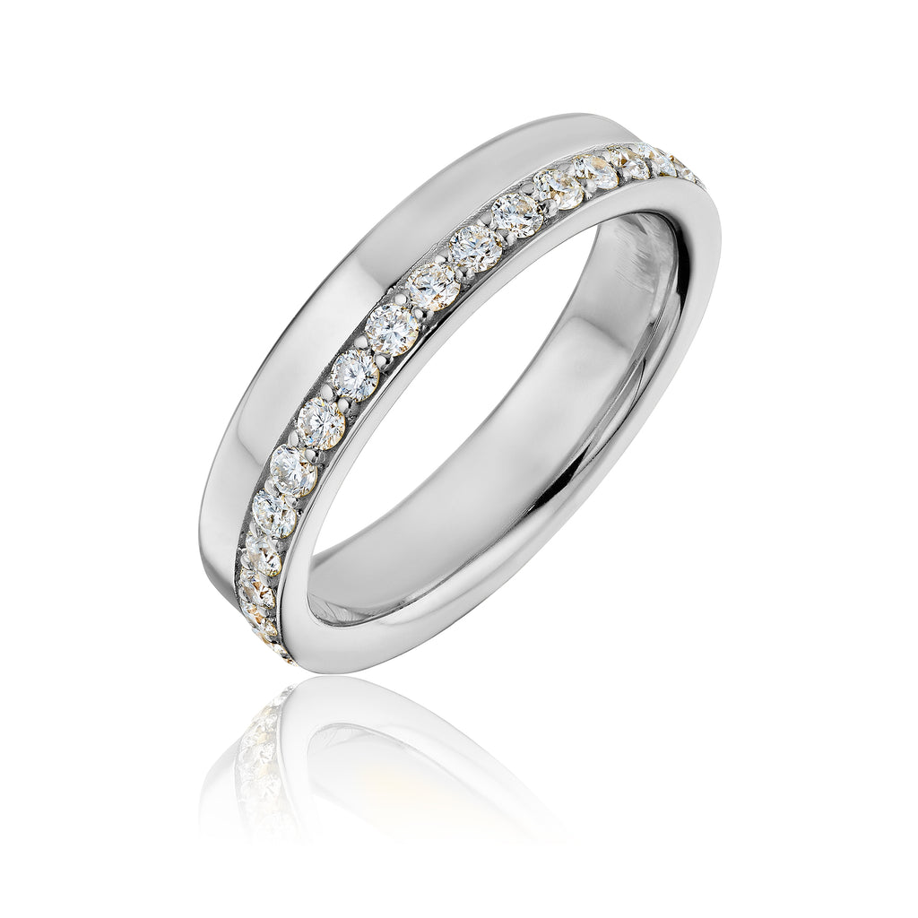 Large Bottle Cap diamond band in white gold