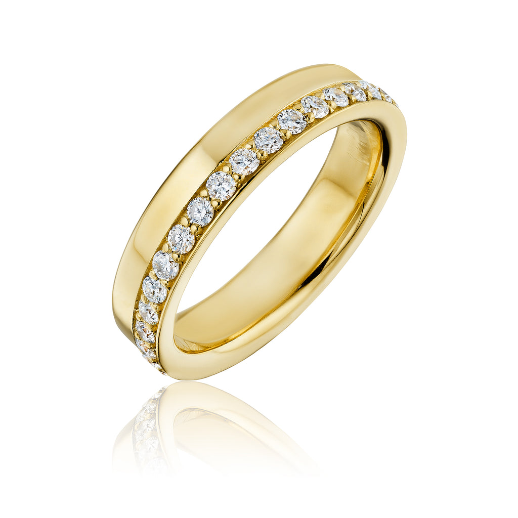 Large bottle cap diamond band in yellow gold