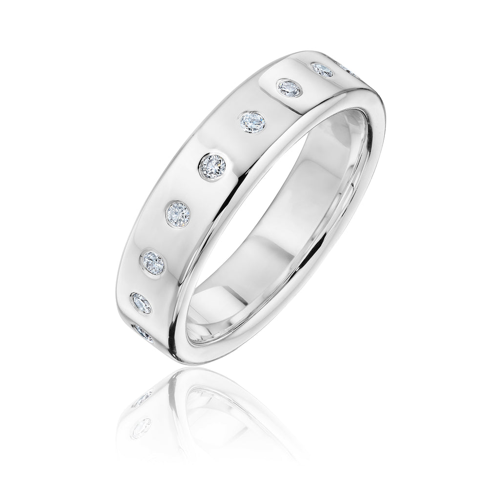 Diamond studded architect band in white gold