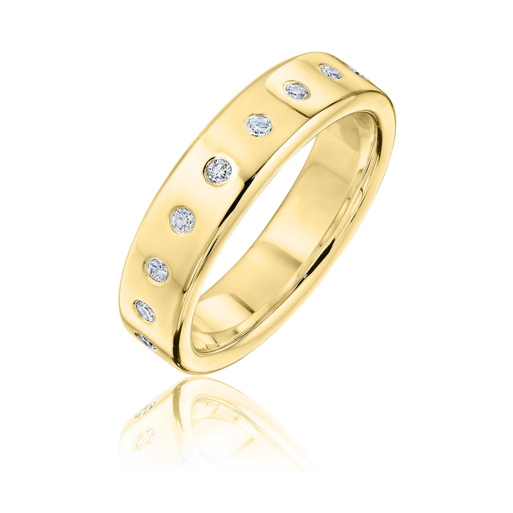 Diamond Studded Architect band in gold