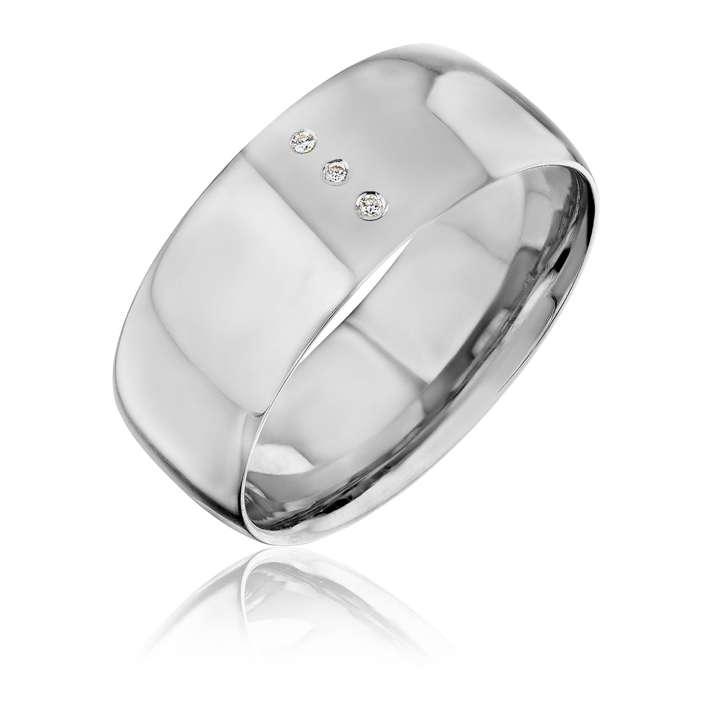 LVL band in 18kt white gold with diamonds