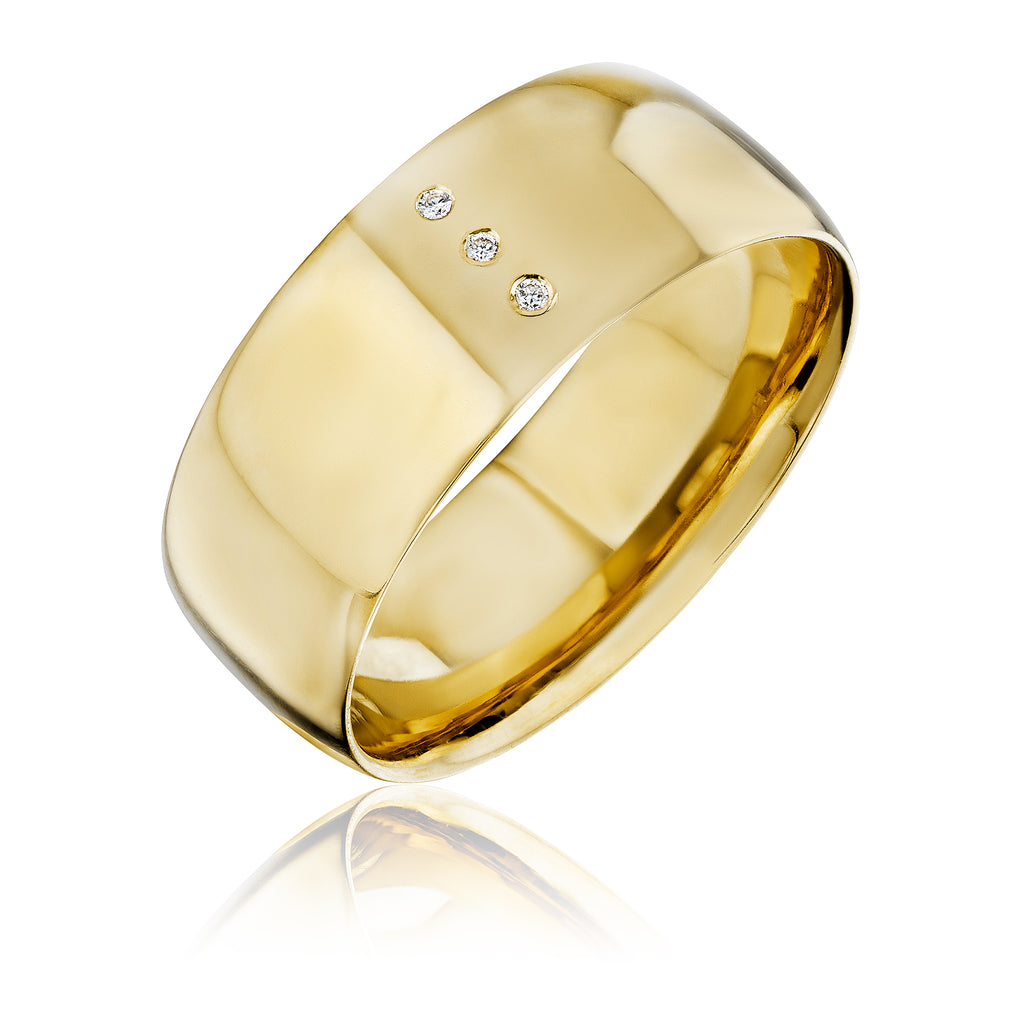 LVL band in 18kt yellow gold with diamonds