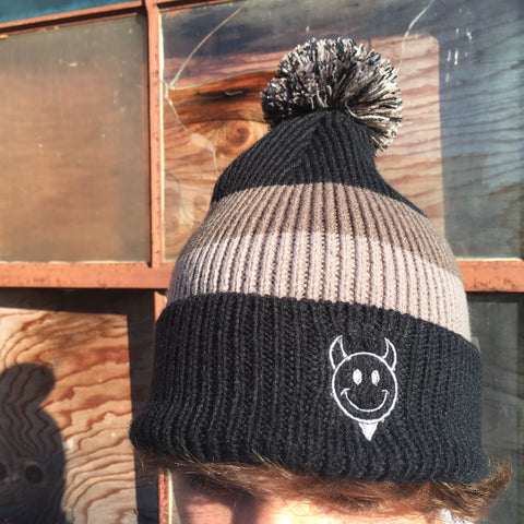 Devil Man Striped Beanie with Removable Pom