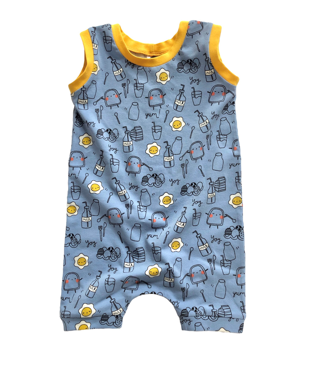 kids summer breakfast romper