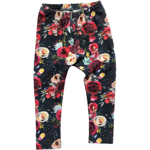 Navy Floral Leggings - Dapper Jacks