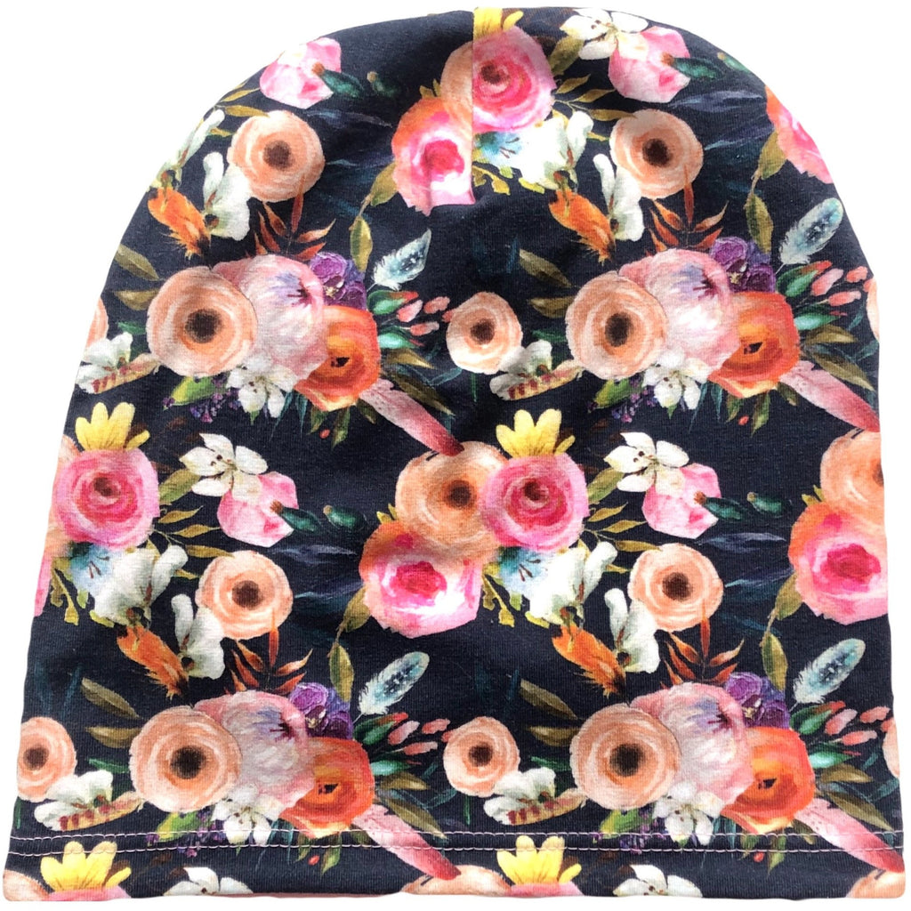 Double Lined Floral Slouchy Beanie - Dapper Jacks