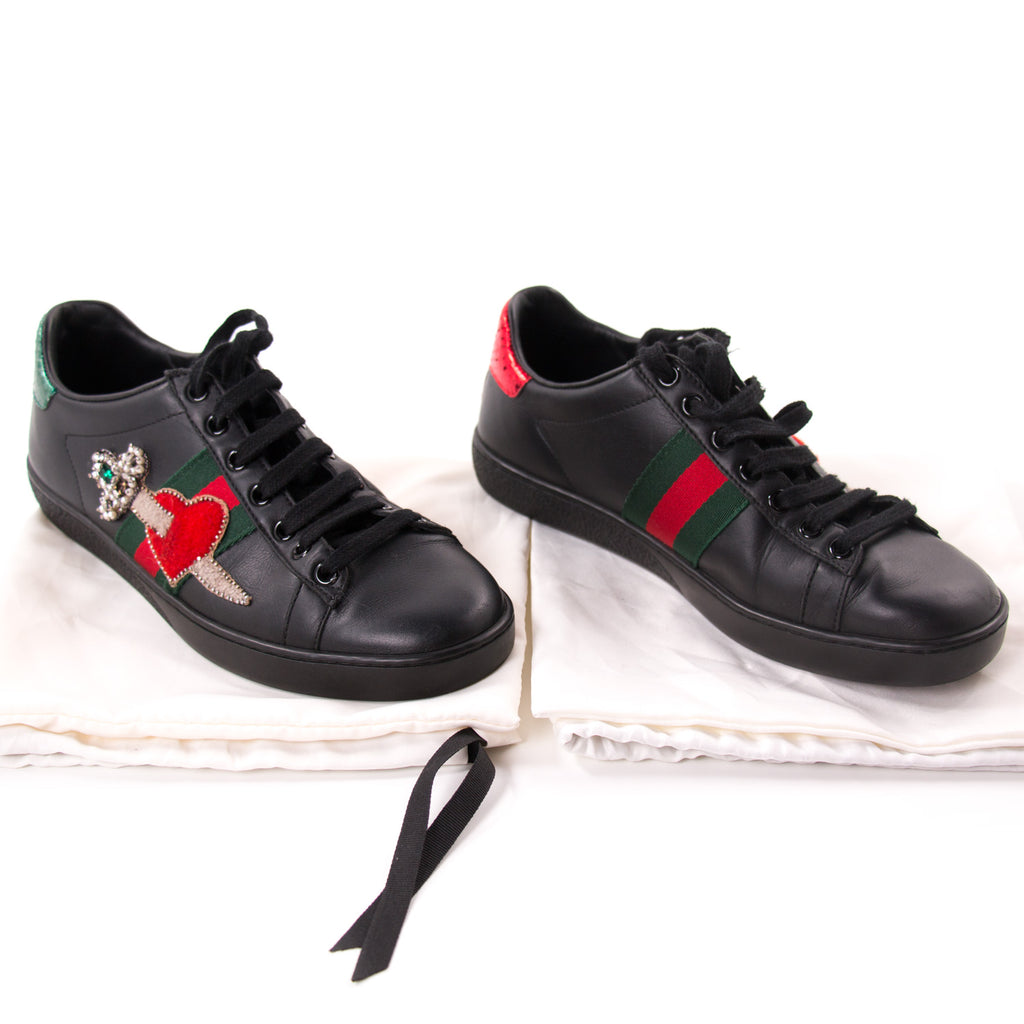 Gucci Ace Leather Embroidered Sneaker Shoes Gucci - Shop authentic new pre-owned designer brands online at Re-Vogue