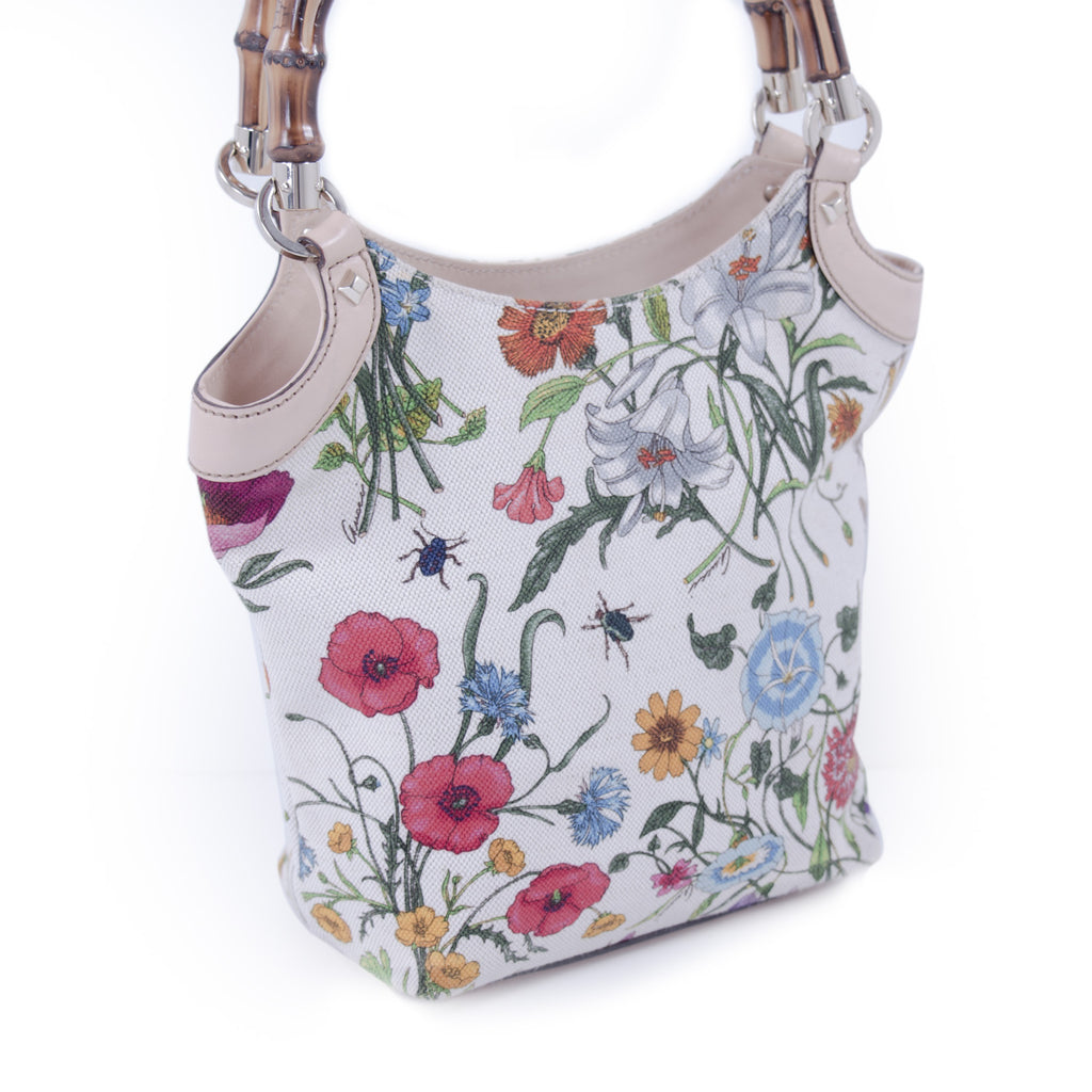 Gucci Floral Bamboo Bucket Bag Bags Gucci - Shop authentic new pre-owned designer brands online at Re-Vogue