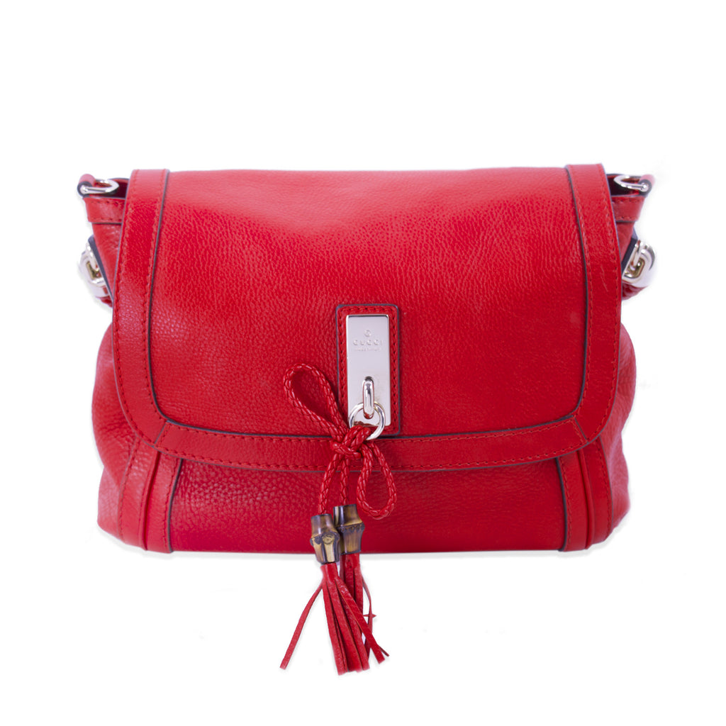 3a350c54a2c Shop authentic Gucci Bella Red Leather Shoulder Bag at revogue for ...