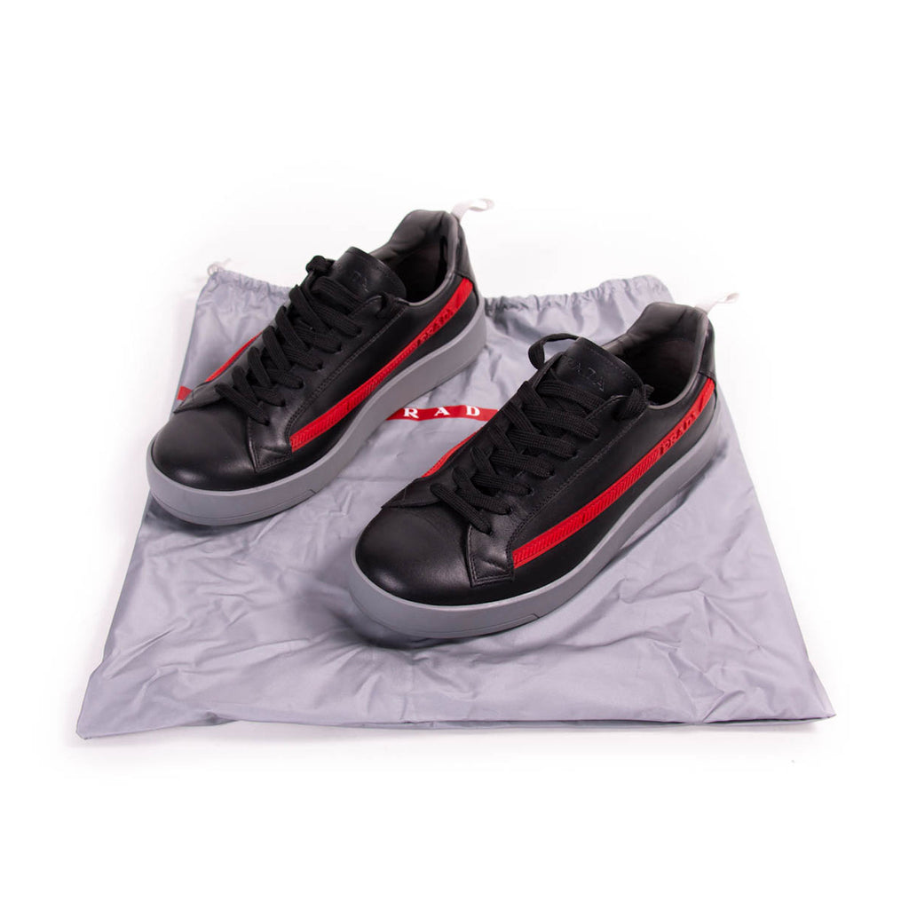 Prada Leather Low Top Sneakers