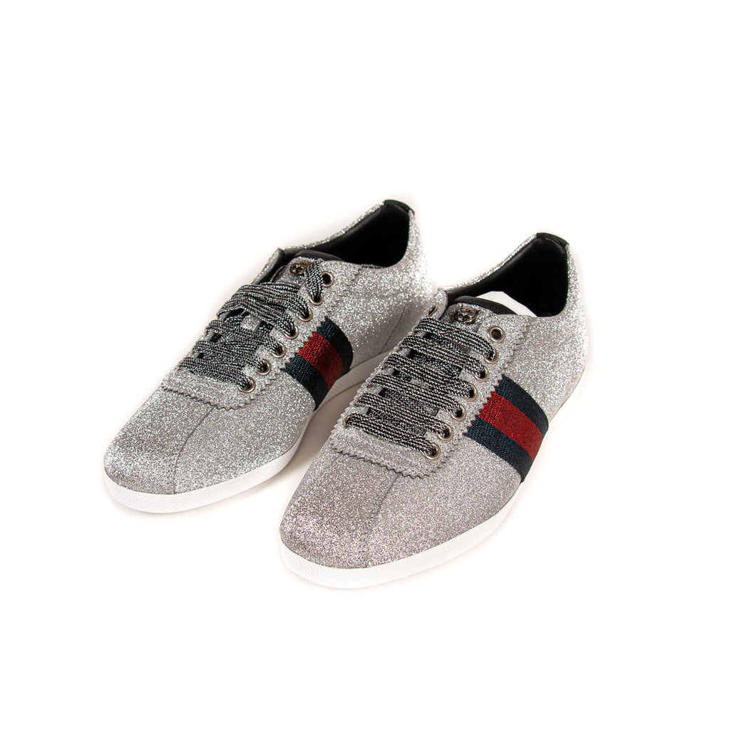Gucci Glitter Web Sneaker With Studs Shoes Gucci - Shop authentic new pre-owned designer brands online at Re-Vogue