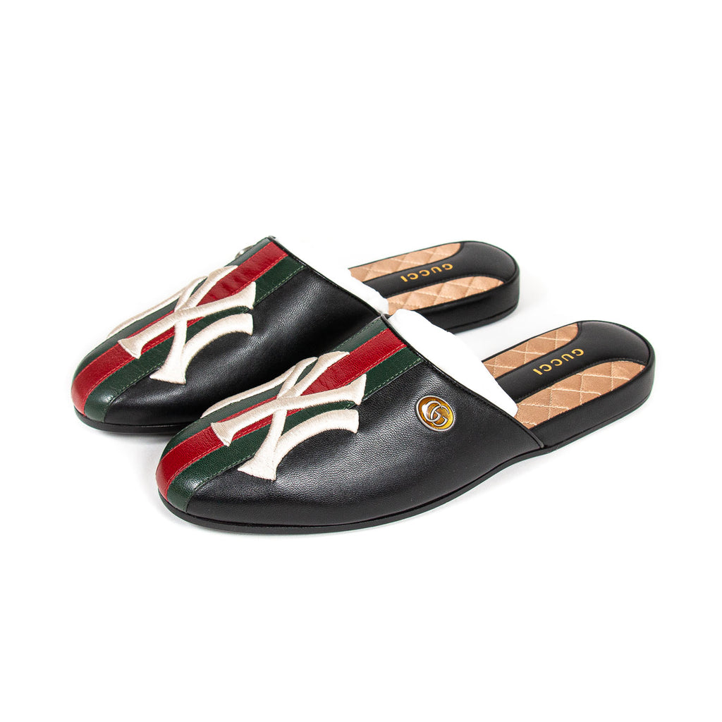 authentic Gucci NY Yankees Flamel Mules