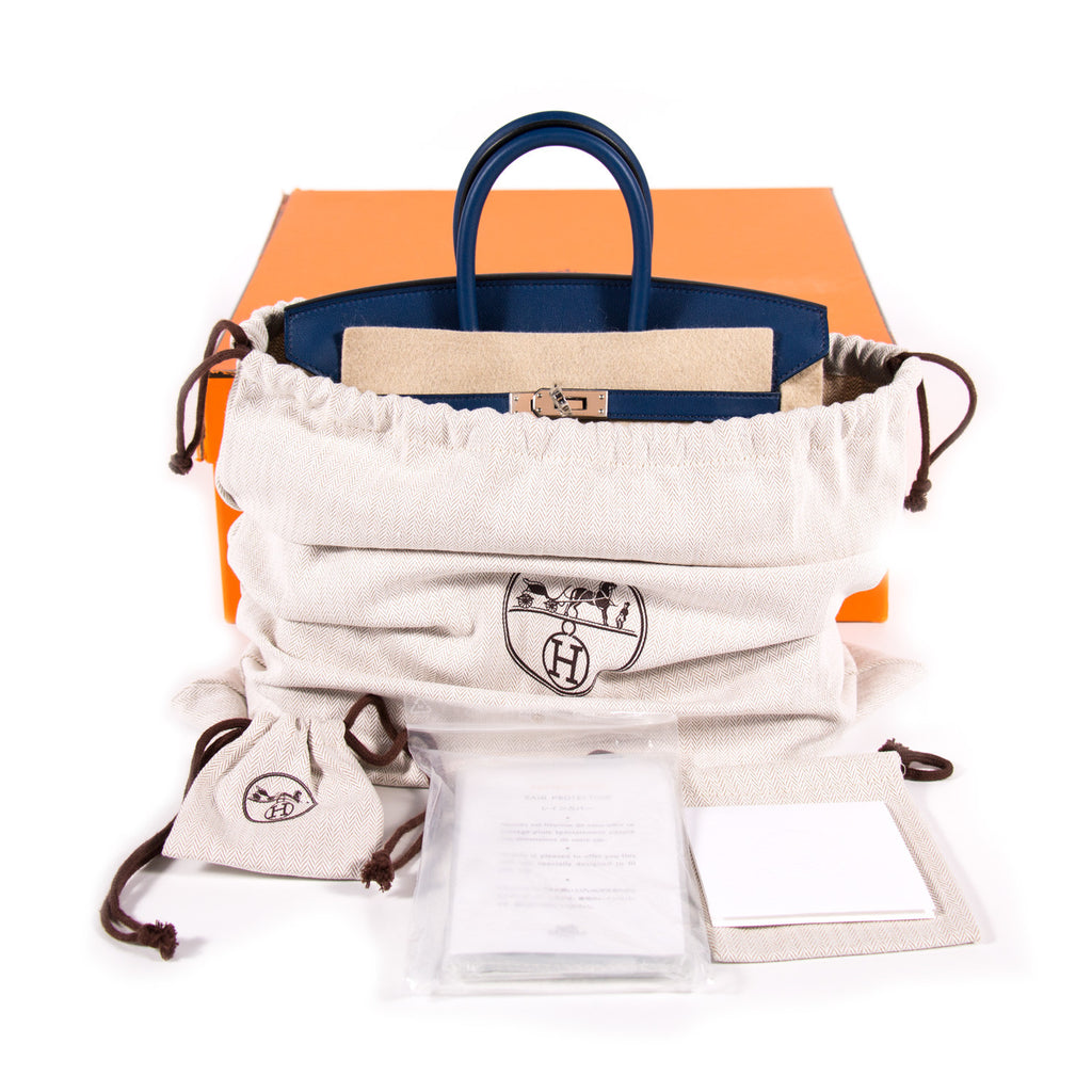 Hermes Birkin 25 Navy Blue Swift Bags Hermès - Shop authentic new pre-owned designer brands online at Re-Vogue