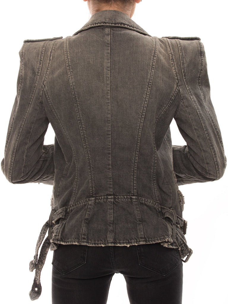 Balmain Grey Biker Jacket Jacket Balmain - Shop authentic new pre-owned designer brands online at Re-Vogue