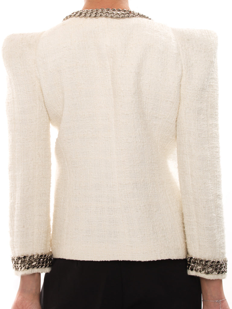 Balmain White Cotton Jacket With Metal Chain Jacket Balmain - Shop authentic new pre-owned designer brands online at Re-Vogue