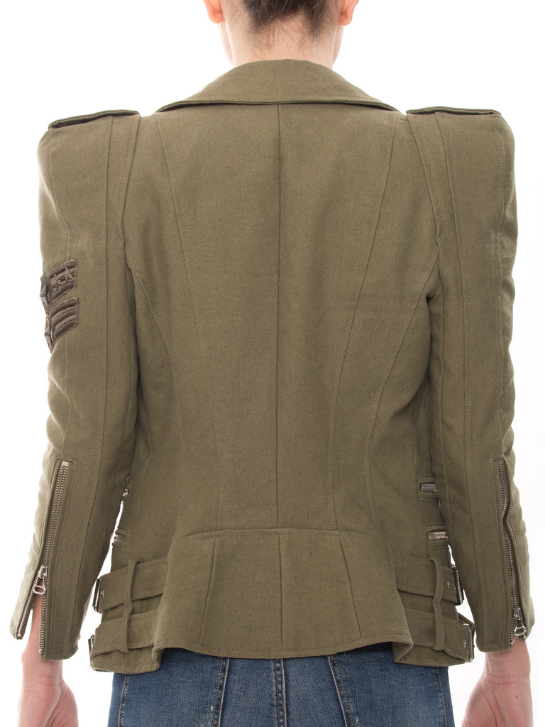 Balmain Biker Green Jacket Jacket Balmain - Shop authentic pre-owned designer brands online at Re-Vogue