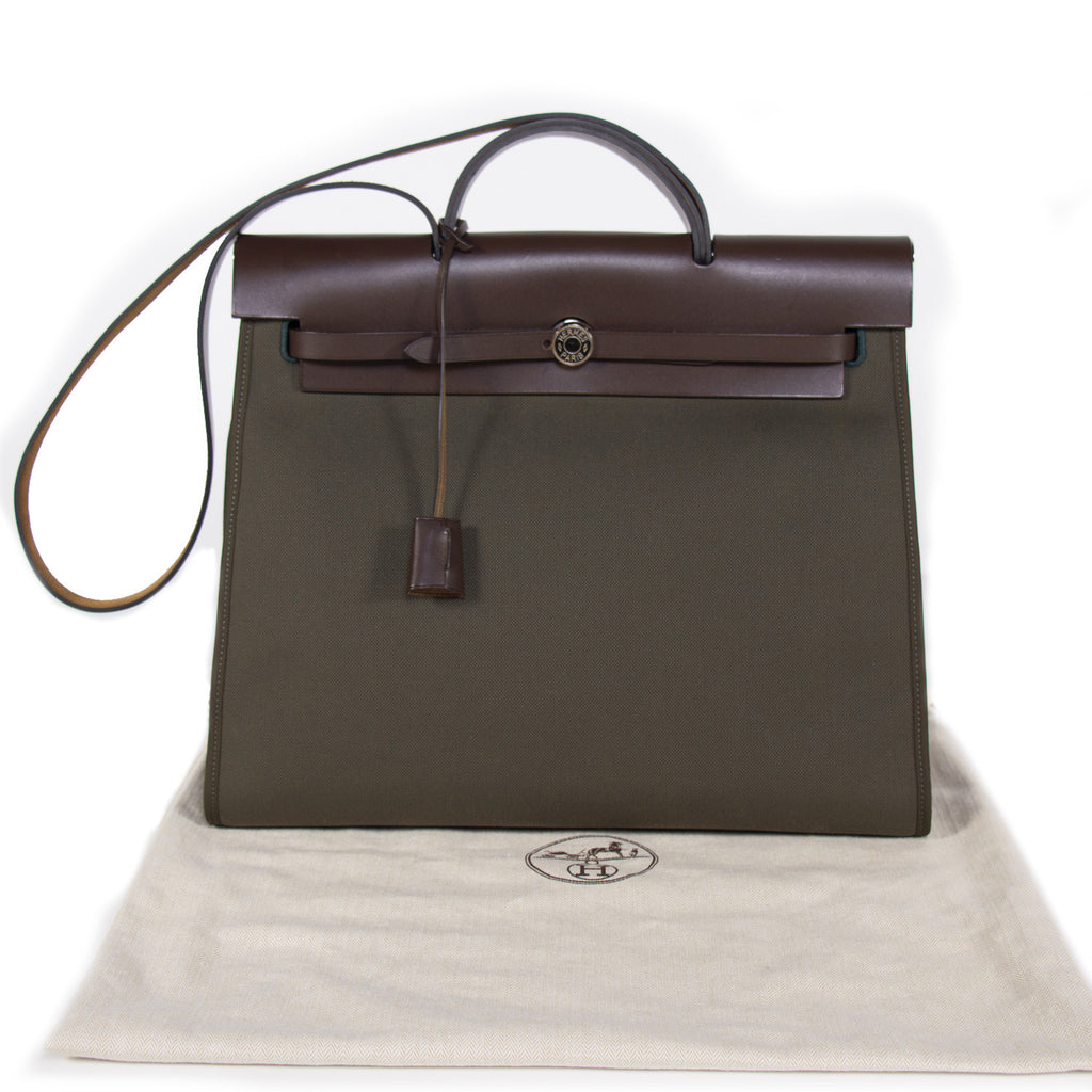 Hermes Herbag Zip 39 Vert Olive Bags Hermes - Shop authentic new pre-owned designer brands online at Re-Vogue
