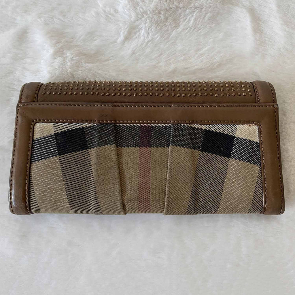 Burberry House Check Studded Wallet