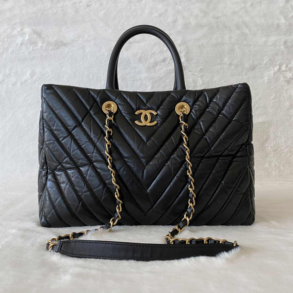 Chanel Chevron Shopping Tote Bag
