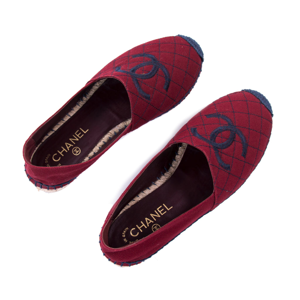 Chanel CC Canvas Espadrilles Flat Shoes Chanel - Shop authentic new pre-owned designer brands online at Re-Vogue