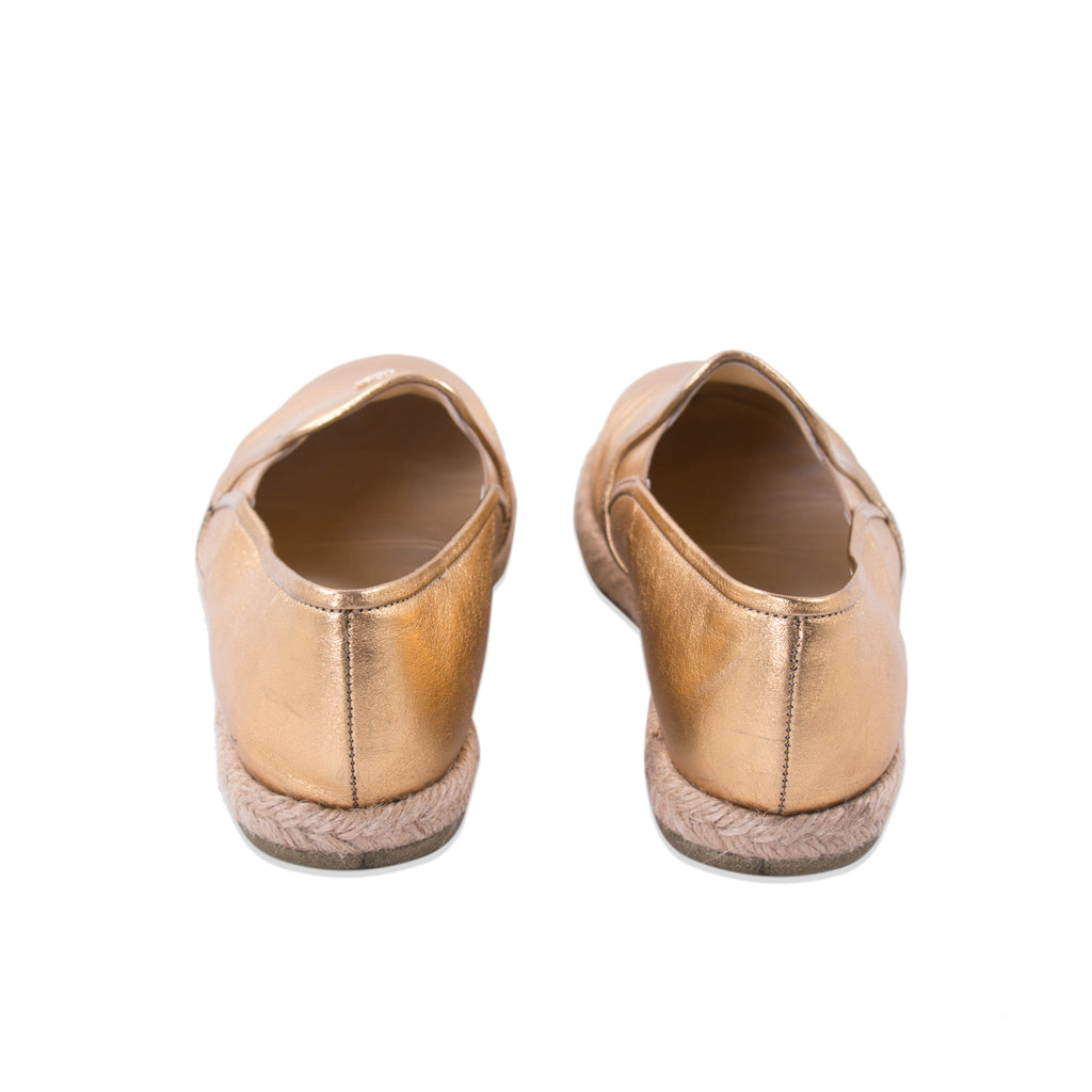Chanel Gold Metallic Leather Espadrilles Flats Shoes Chanel - Shop authentic new pre-owned designer brands online at Re-Vogue