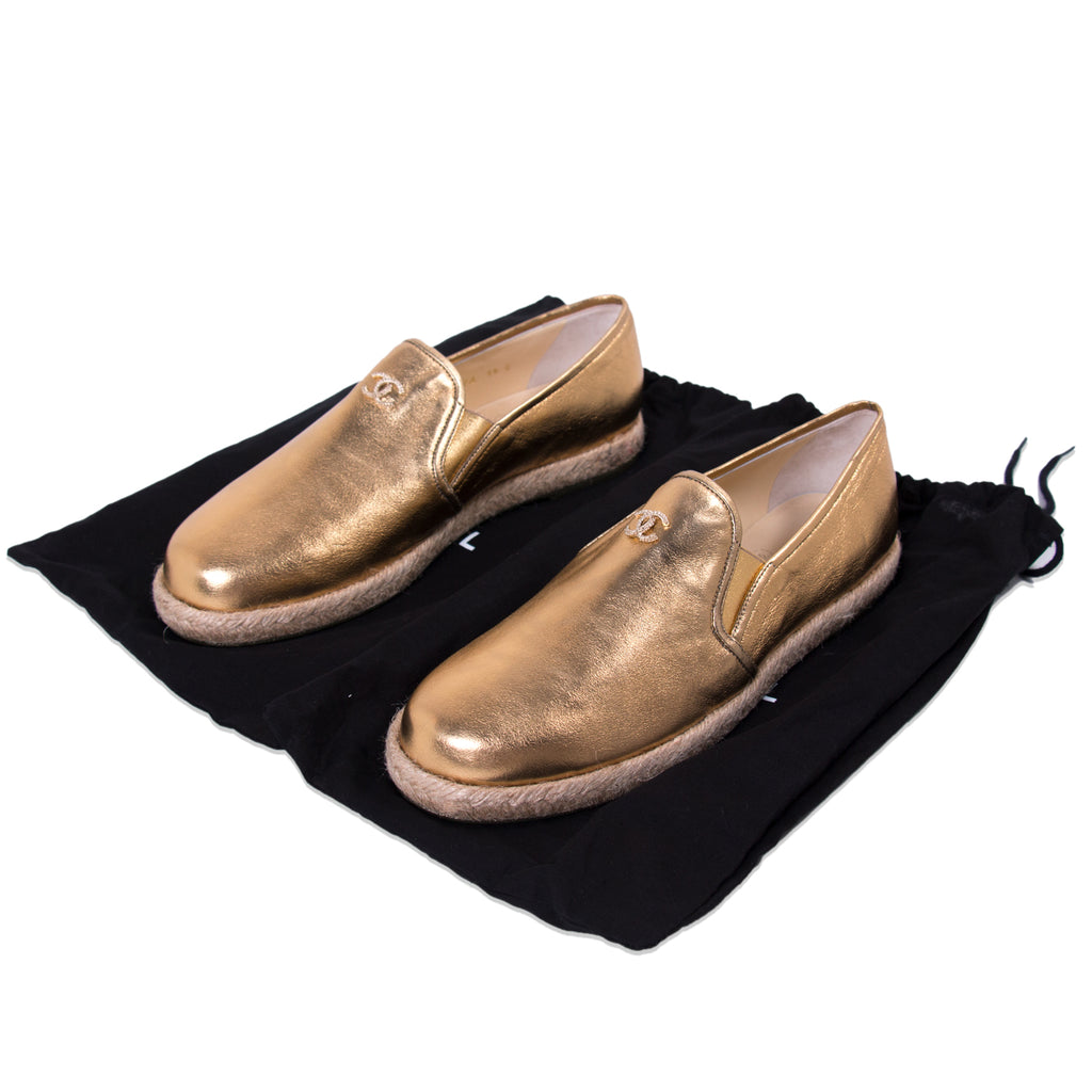 Chanel Gold Metallic Leather Espadrilles Shoes Chanel - Shop authentic new pre-owned designer brands online at Re-Vogue