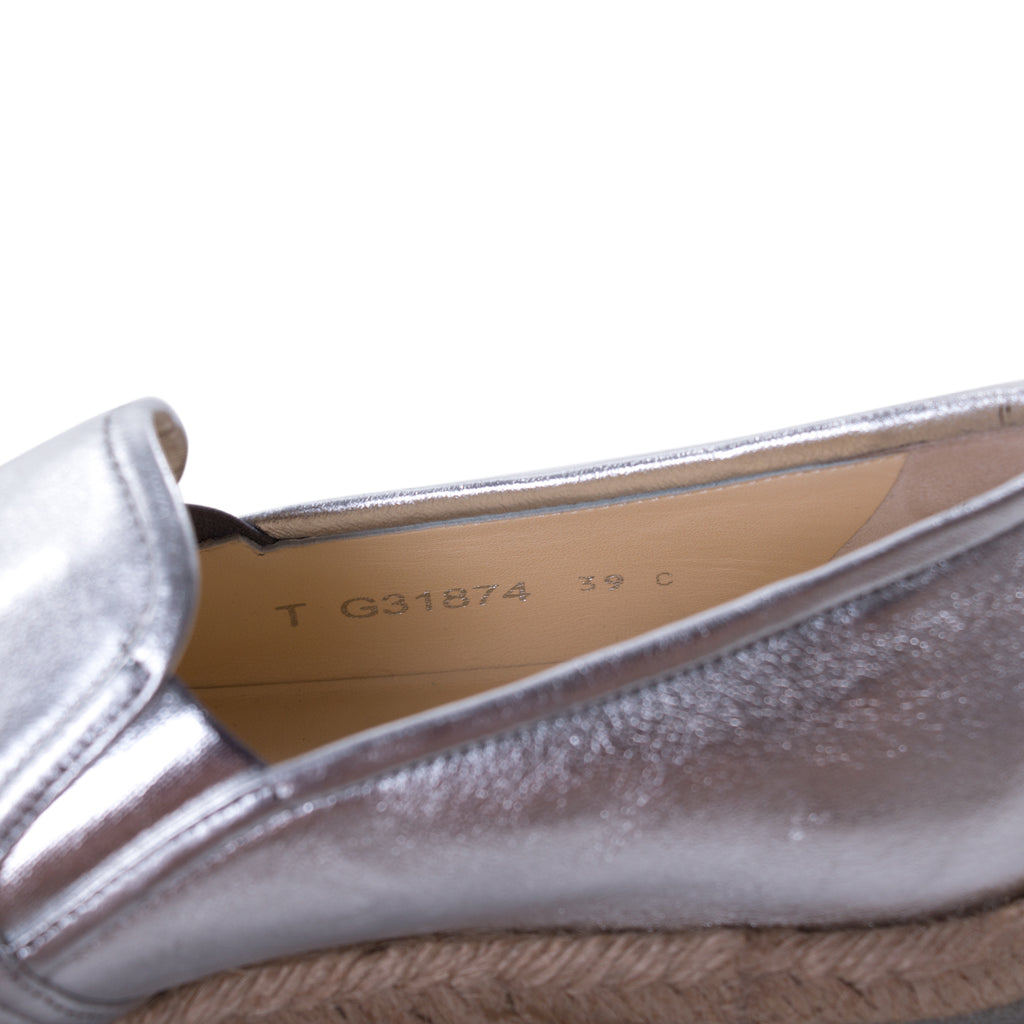 7ee1293ae56 Shop authentic Chanel Silver Metallic Leather Espadrilles at revogue for  just USD 575.00