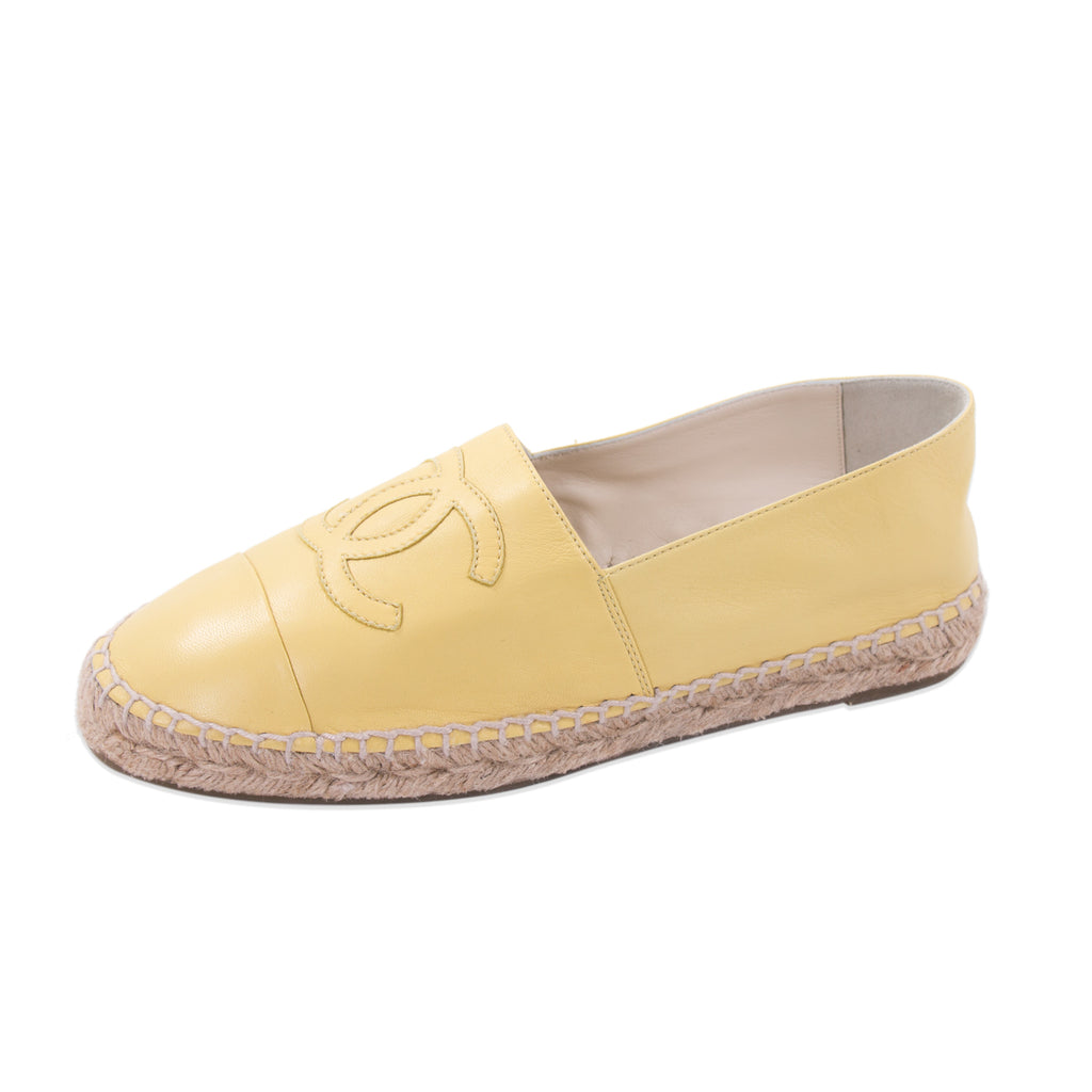 Chanel Yellow Lambskin Leather CC Espadrilles Shoes Chanel - Shop authentic new pre-owned designer brands online at Re-Vogue