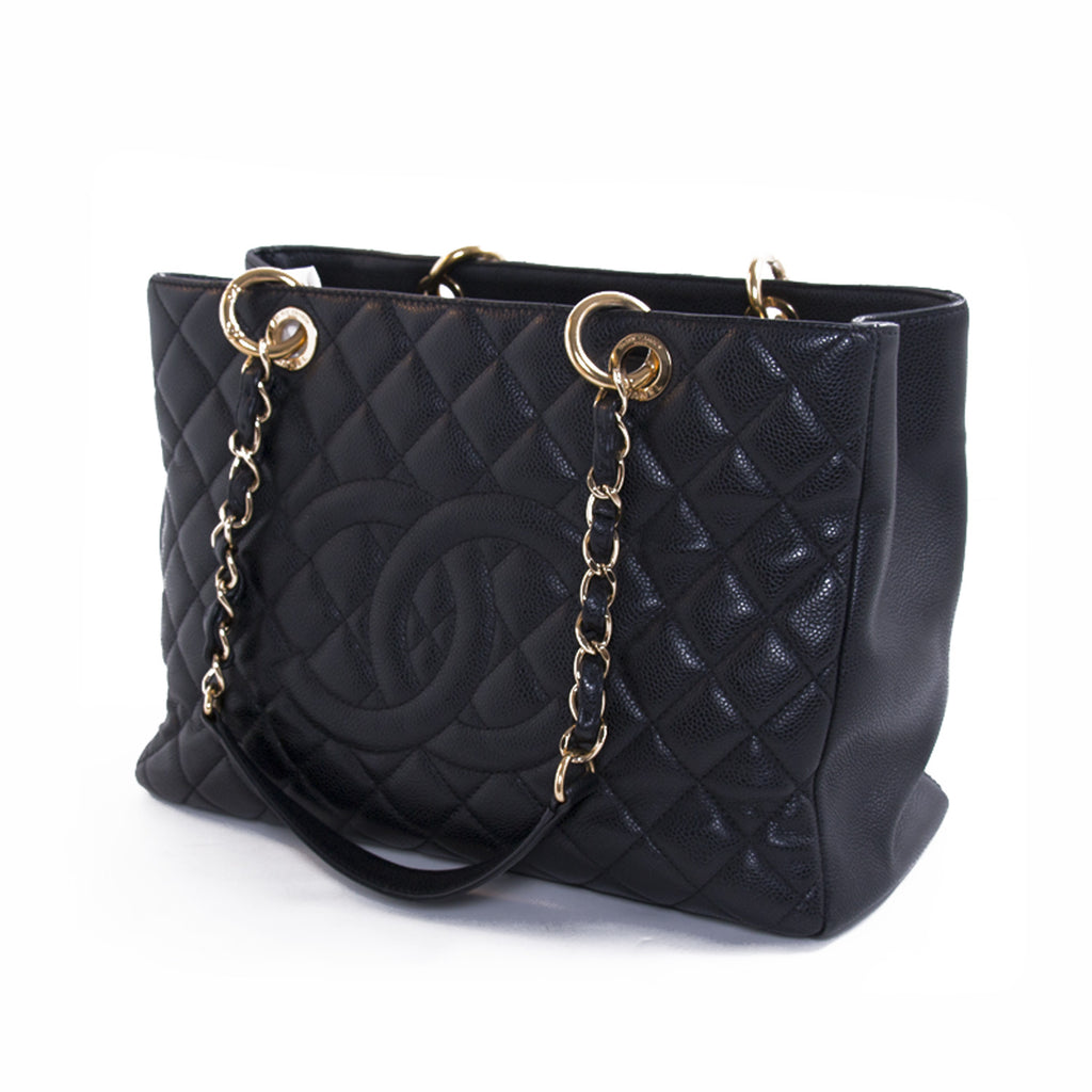 Chanel Black Caviar Leather Grand Shopping Tote Bags Chanel - Shop authentic new pre-owned designer brands online at Re-Vogue